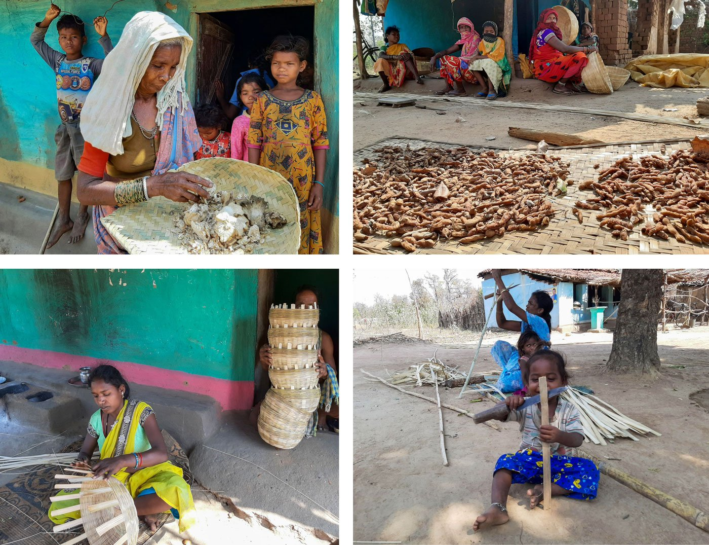 Left: Sunaram Kunjam sits alone in his mud home; he too is not receiving an old age pension. Right: Ghasiram Netam with his daughter and son; his wife was gathering mahua flowers from the forest – they are being forced to sell the mahua at very low rates