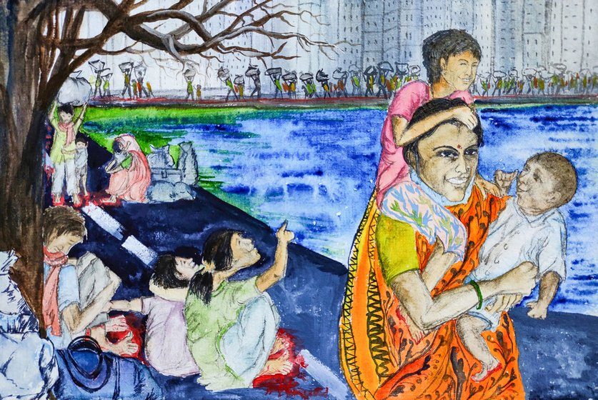 In those huge lines of migrants walking determinedly along the Mumbai-Nashik highway in Maharashtra, the image of this extraordinary mother sparked the imagination of the artist
