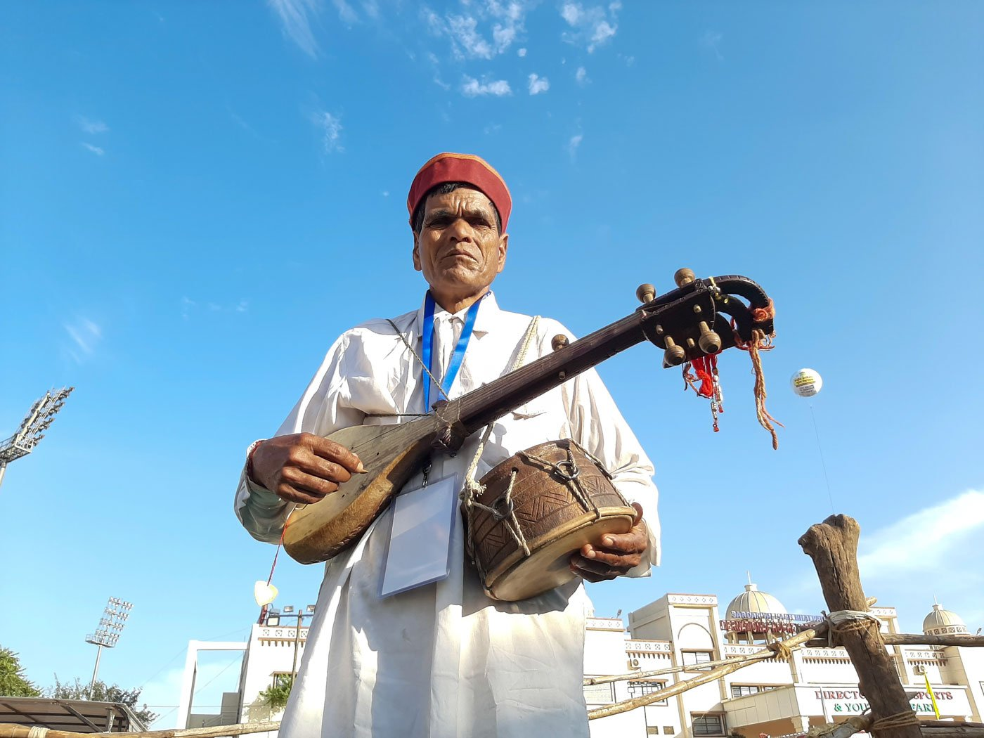 Premlal, a farmer-musician from Chamba district, performing at a recent festival