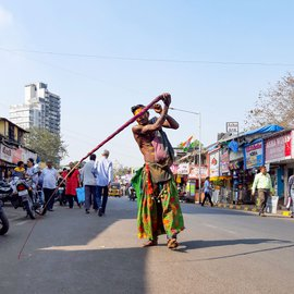 Lakshman Katappa and his family, who belong to the Dhegu Megu ST community from Kodambal village in Karnataka and worship Goddess Mariyamma, dance and whip themselves to earn a living