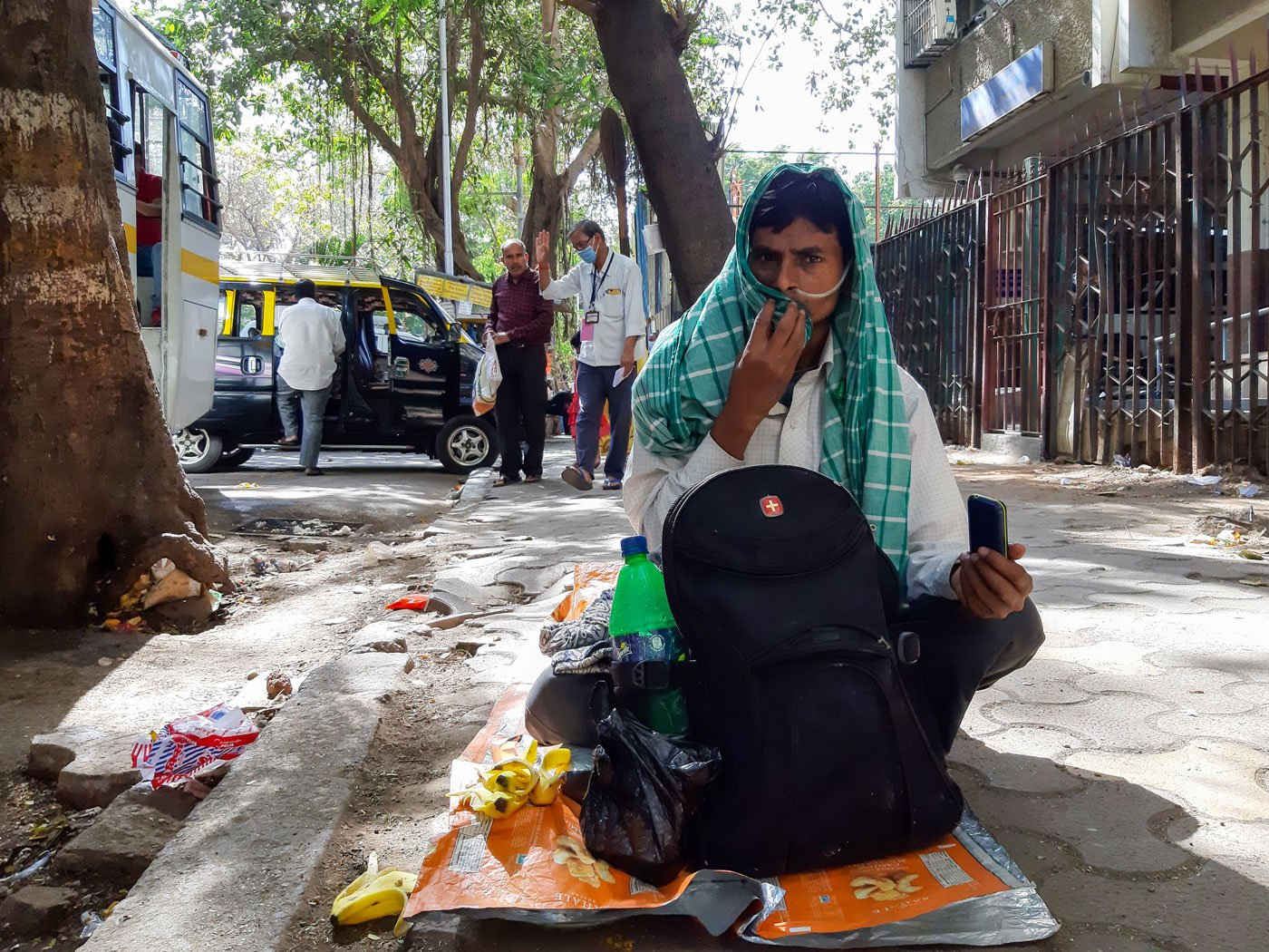The footpath near the hospital has been home to Surendra. His check-up done, he can longer go back home to Potilia village in Bihar as trains were suspended for the 21-day nationwide lockdown from March 25. And he cannot afford to rent a room in Mumbai