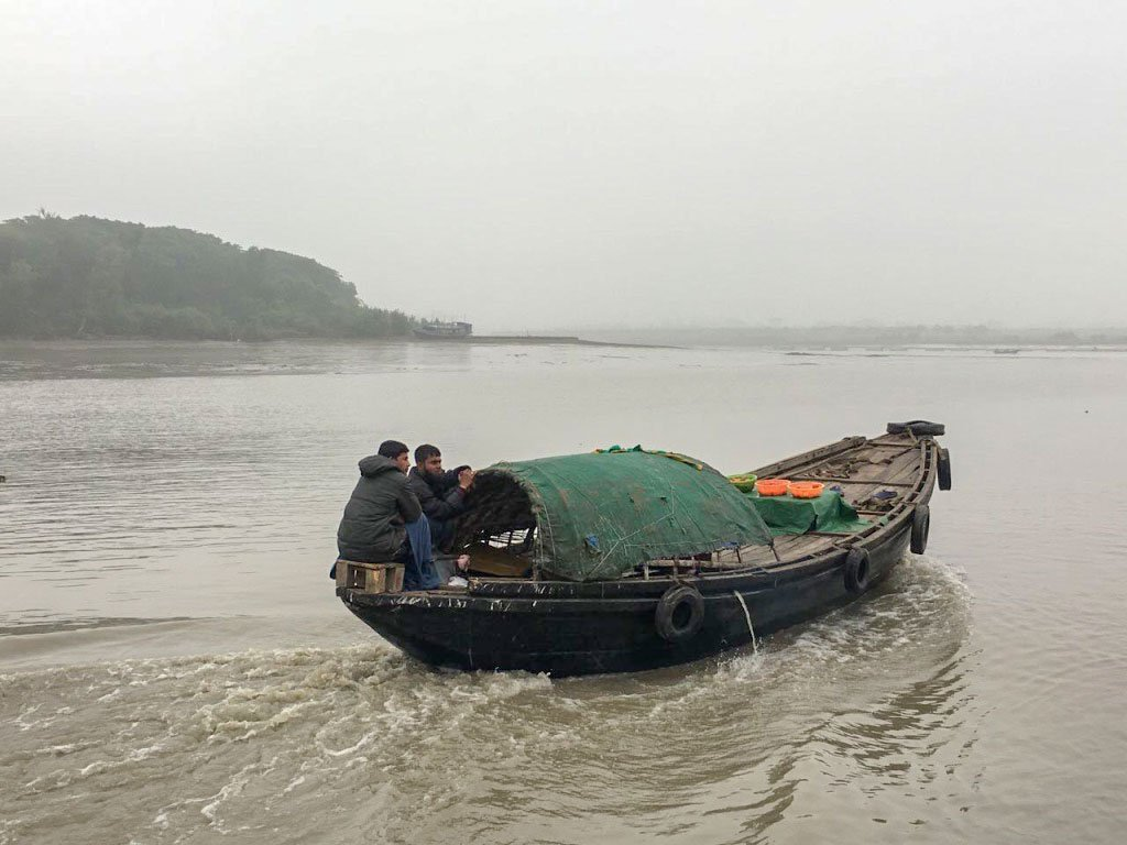A traditional fishing boat in the Bay of Bengal
