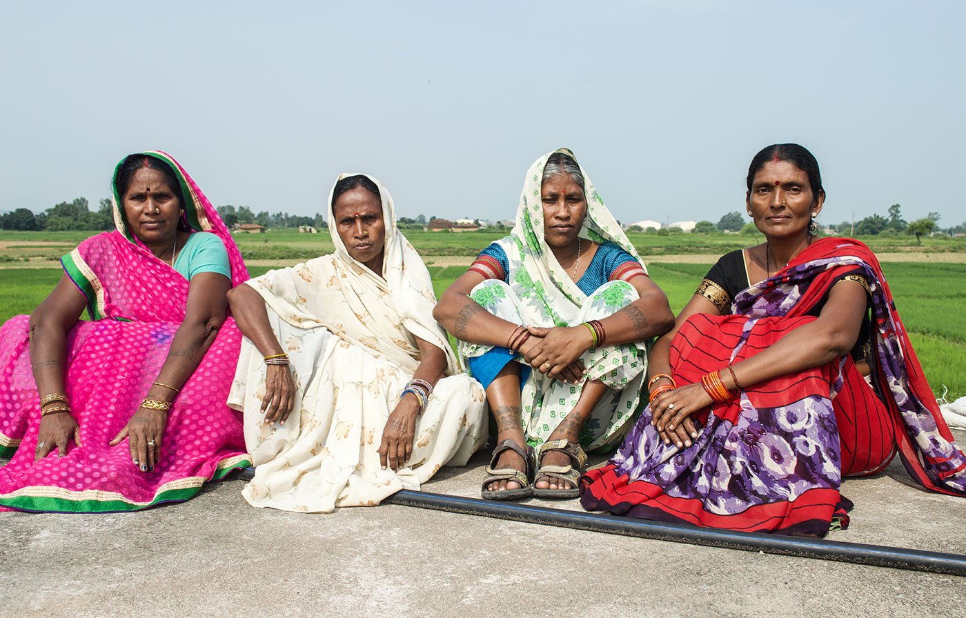 The women from All India Union for Forest Working People. Left to right: Lalti, Rajkumari, Sukalo, Shoba