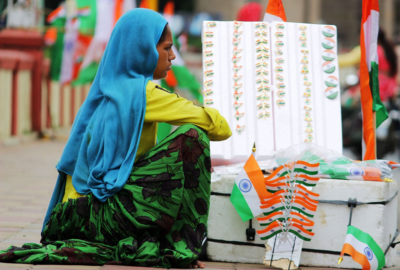 Laxmi Bagariya selling Independence day flags and other related items