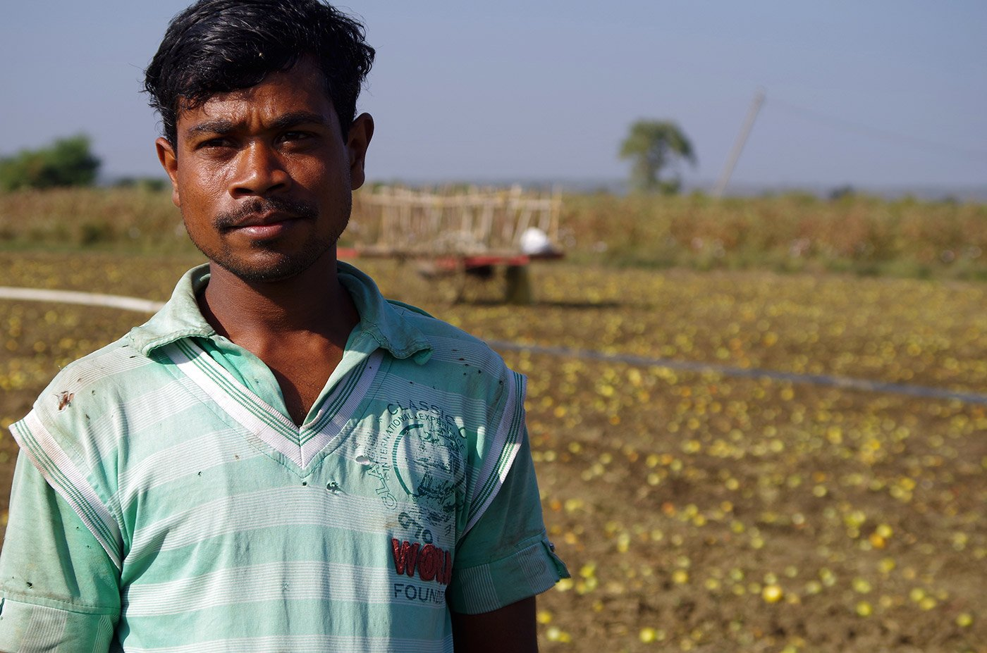 A vegetable farmer standing in front of his farm