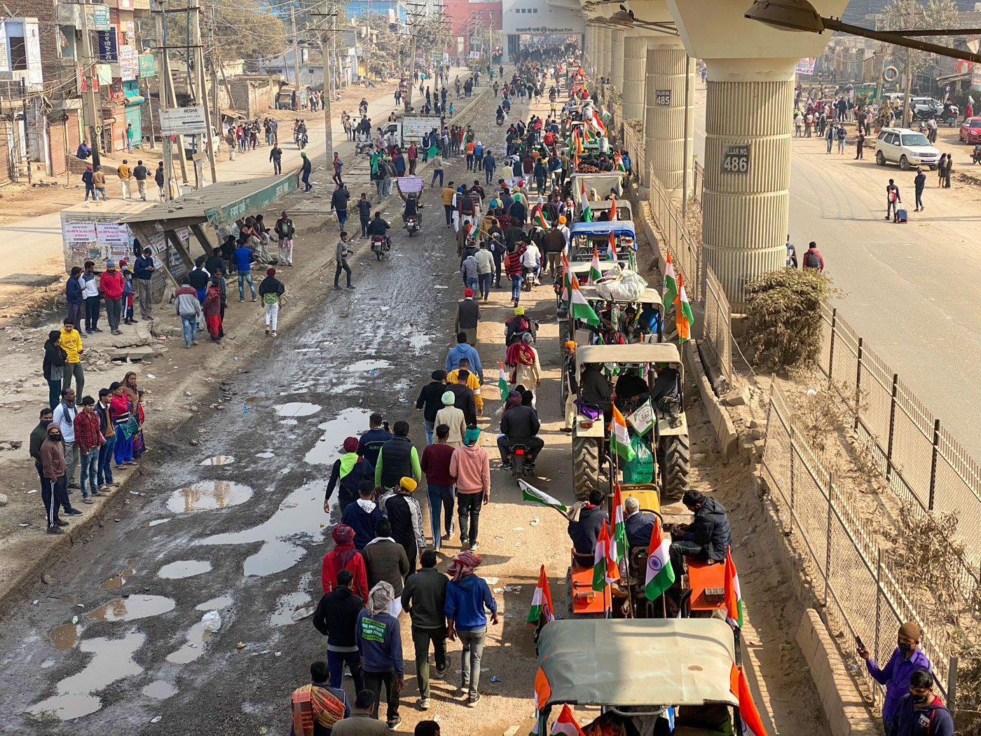 The convoy of farmers' tractors from Tikri was moving peacefully when a small group broke away, creating chaos at Nangloi chowk and disrupting an unprecedented and disciplined citizen's Republic Day parade