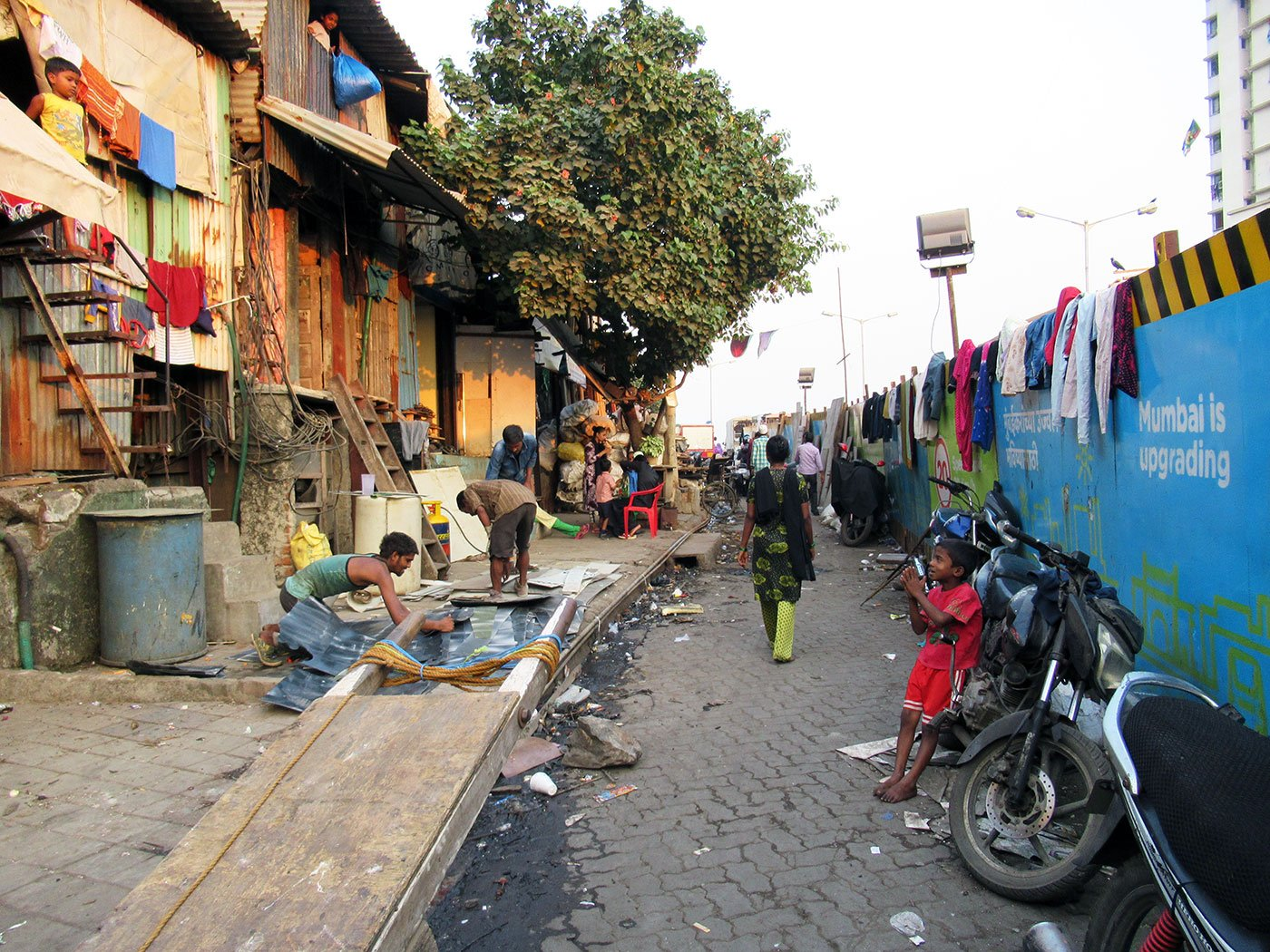 A road in Dharavi, a slum in Mumbai