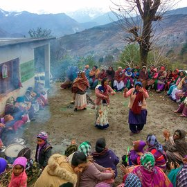 Women dancing to holi songs