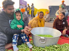 Harfateh Singh peels peas at farmers' protests