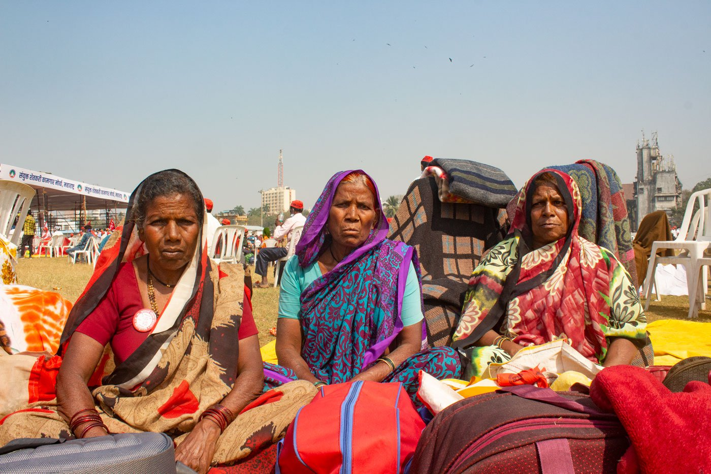 Despite land rights being the main concern for Bhima Tandale, Suman Bombale and Lakshmi Gaikwad – Adivasi farm widows from Nashik – they are in Mumbai to support the protest against the new farm laws