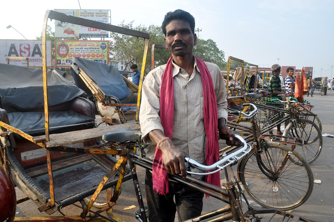 Prasanna Sabar with his cycle rickshaw