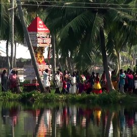 In Karthikappally and other villages along the backwaters of Alappuzha district in Kerala, children make their own chariots and participate with gusto in an annual ritualistic procession