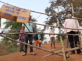 In Chhattisgarh: barricades as social distancing