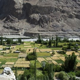 Long shot of Turtuk village in the Nubra valley