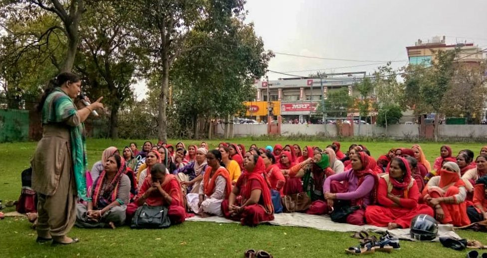 ASHA workers from Sonipat district on an indefinite strike in March; they demanded job security, better pay and a lighter workload