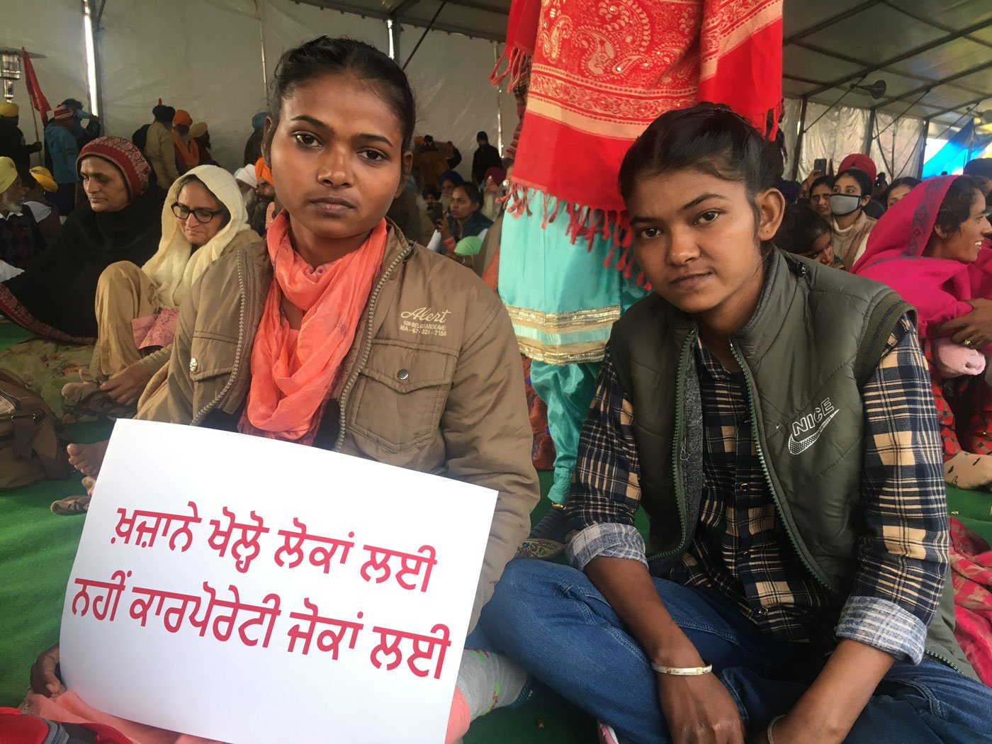 Resham (left) and Beant: 'If farmers' land is taken away by these laws, will our parents find work and educate their children?'