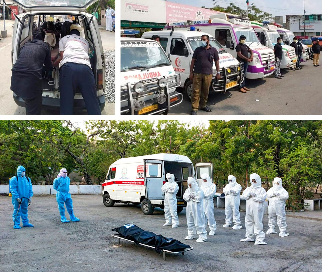 Top left: Two volunteers place a body in their vehicle. Top right: TMMK volunteers stand beside their ambulance vans, readying for the day's activity. And volunteers in full PPE stand in respect after unloading a body at a burial ground