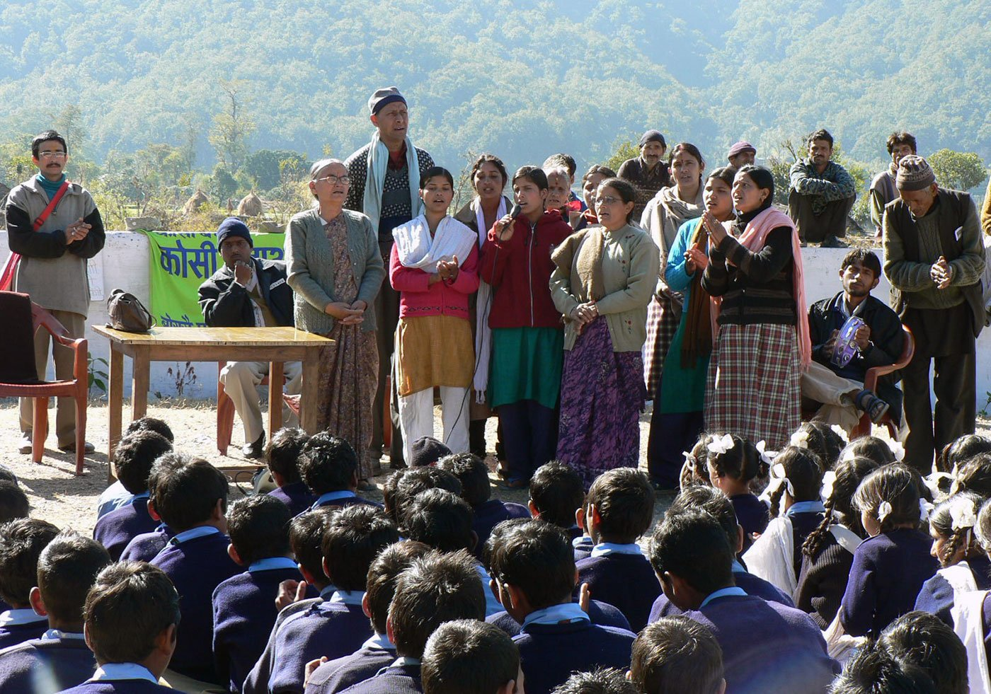 Kausani Mahila Sangathan raising awareness about Kosi in a government school