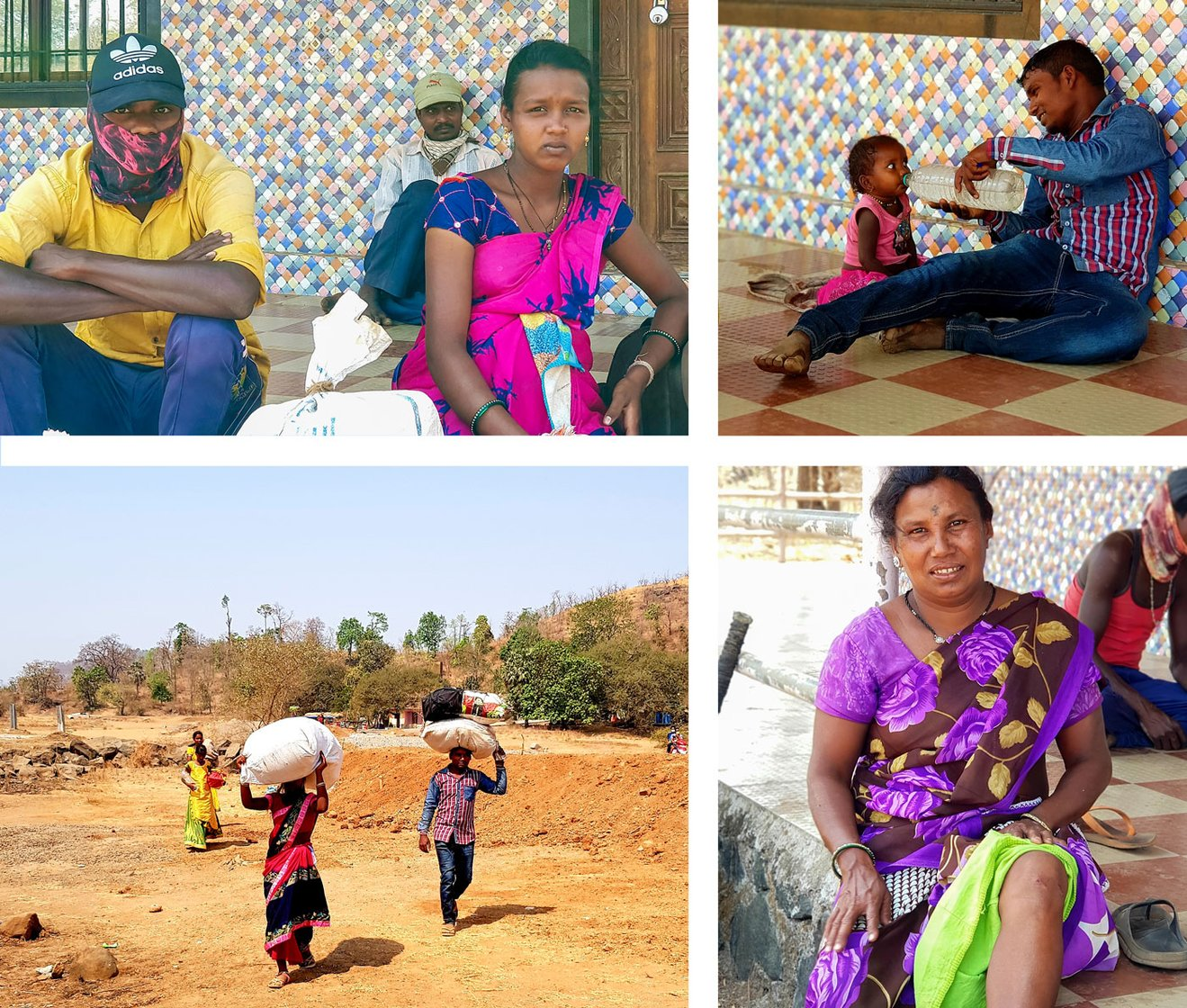 Sapna and her husband Kiran Wagh (top left), Devendra Diva and his little daughter (top right), and Kavita Diva (bottom right) were among the group of Katkari Adivasis trying to reach their village in Palghar district from the brick kilns where they work