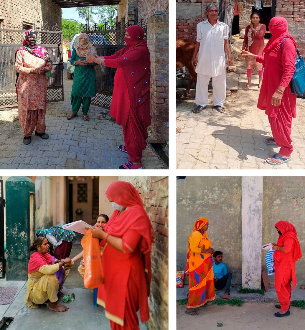 Top left: An ASHA worker demonstrates an arm's length distance to a rural family. Top right and bottom row: ASHA workers in Sonipat district conducting door-to-door COVID-19 surveys without protective gear like masks, gloves and hand sanitisers