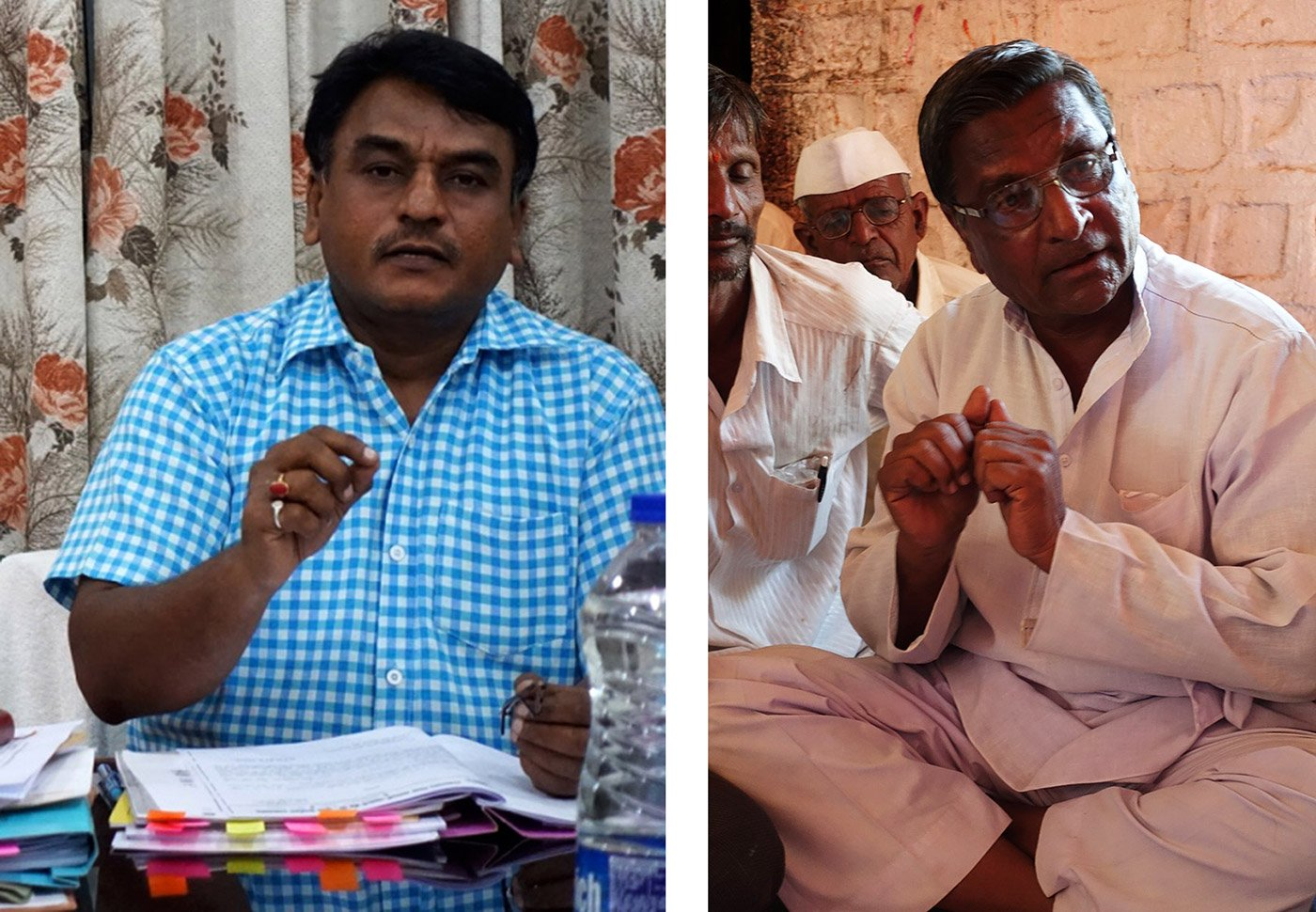 Left: Vijay Ghonse Patil, executive director of the ODCC, at the bank's headquarters in Osmanabad town. Right: A farmer in Lohara block explains the problems they face