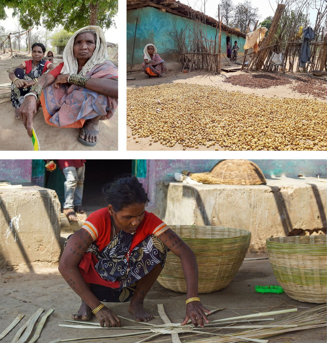 Top row: Samara Bai and others from the Kamar community depend on forest produce like wild mushrooms and  taramind. Bottom left: The families of Kauhabahra earn much of their a living by weaving baskets; even children try their hand at it