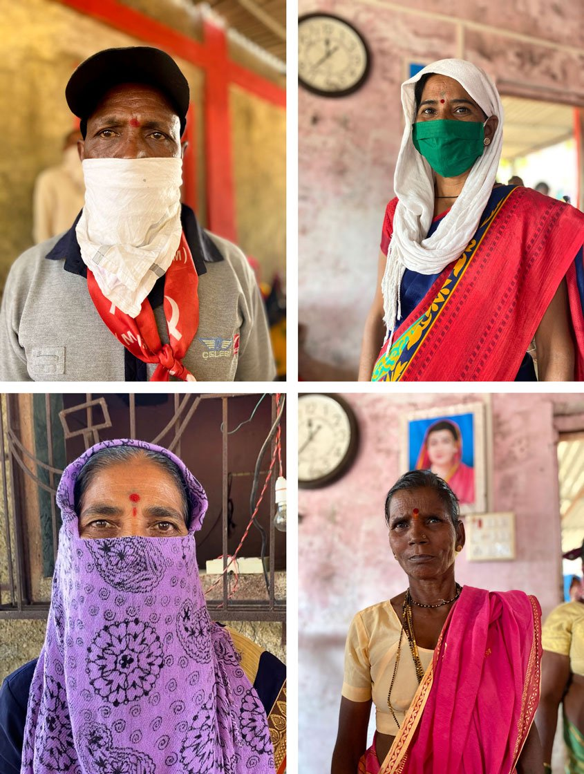"Top left: Tukaram Valavi: 'We will not back down today'. Top right: Rama Tarvi: 'The forest department does not let us cultivate our land'. Bottom left: Suganda Jadhav: 'The government has forced us to come out on the streets'. Bottom right: Sunita Savare has been trying to get her Aadhaar card for years, and said: 'I don't understand what the people at the card office say,"" she said. ""I can't read or write. I don't know what form to fill. They ask me to go here, go there, come at this date, that date. I am tired'"
