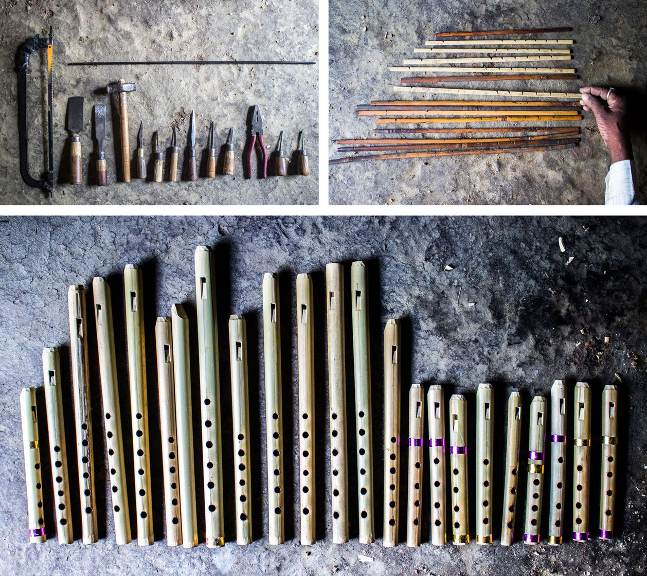 Top left: The flute-makers toolkit with (left-to-right) a hacksaw blade, two types of patli, hatodi, three types of chaku (knives) a cleaning chaku, two varieties of masudichi aari, pakad, two aari for making holes, and the metal rod on top is the gaz. Top right: The tone holes on a flute are made using these sticks which have marks for measurements. Bottom: Dinkar Aiwale has spent over 1.5 lakh hours perfecting his craft and now takes less than an hour to make a flute