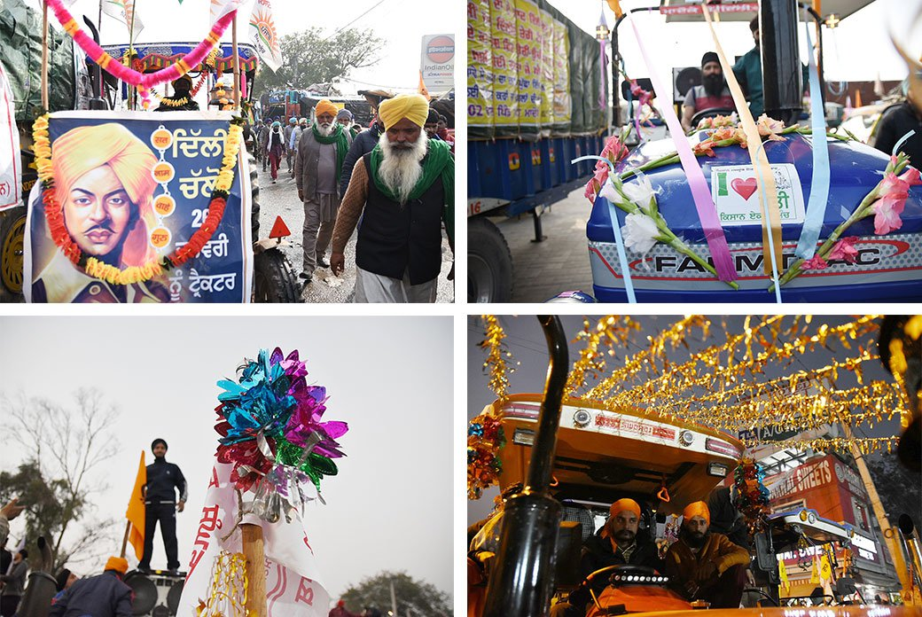 The tractors in Singhu have been decorated with garlands and flags in preparation for the Republic Day parade