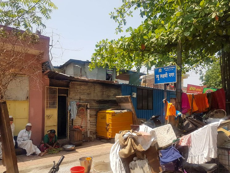 Left: Laxmi Nagar colony in Kothurd. Right: A ration shop in the area, where subsidised food grains are purchased