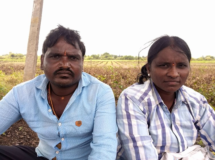 Kuntawar Gajanan (left) and Kuntawar Sangeetha (right) on the field where all the crops had been washed away