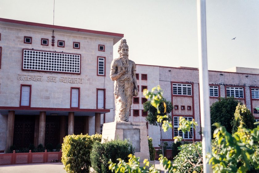 "The statue of ""Manu, the Law Giver"" outside the High Court in Jaipur"