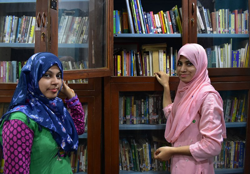 Faiza Ansari and Razia Ansari at the library