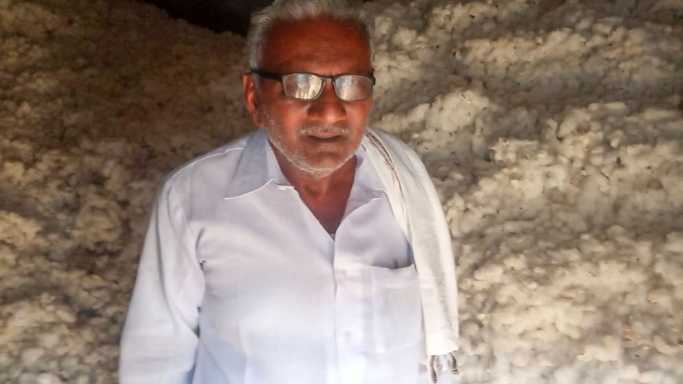 Seventy-year-old Kisan Sakhru Pawar is among countless farmers from across the country stuck with unsold cotton