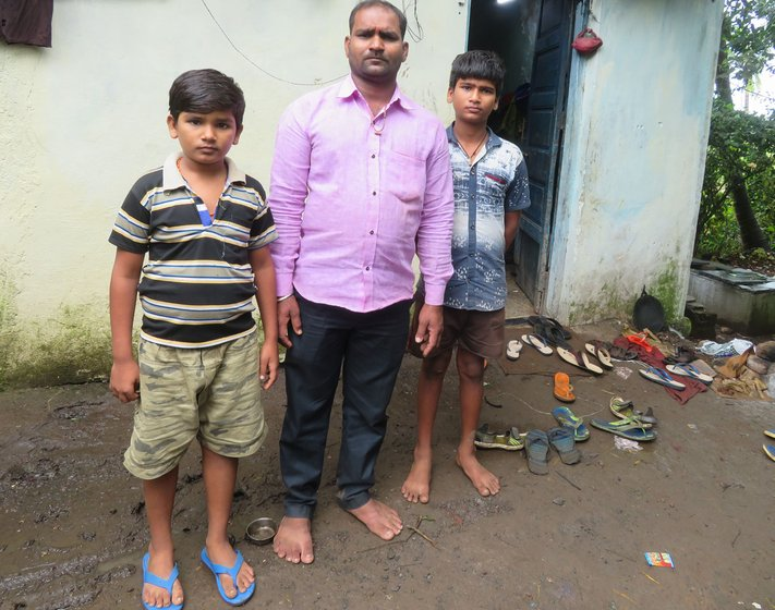 Left: When Raghu (standing behind his father Manish Pal) and his brother Sunny, moved with their parents from UP to Chennai to Maharashtra, at each stop, Raghu tried valiantly to go to school. Right: Manish and other migrant workers wait at labour nakas in Alibag every morning for contractors to hire them for daily wages