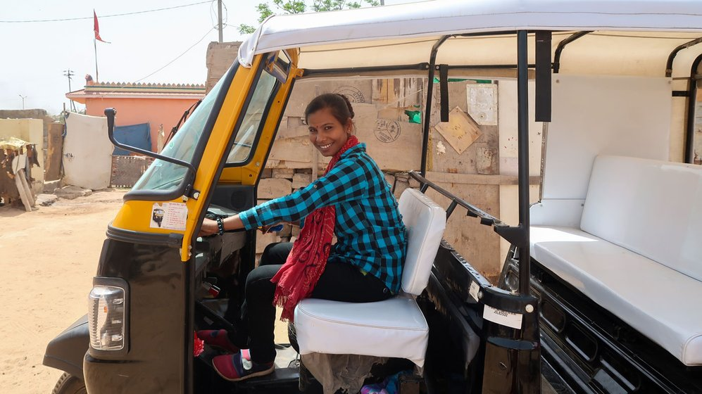 Asha Vaghela (left) followed her niece Chandni Parmar (right) in ferrying passengers in their three-wheelers, called chakadas, in Bhuj. There were no women driving chakadas in the city before they hit the roads