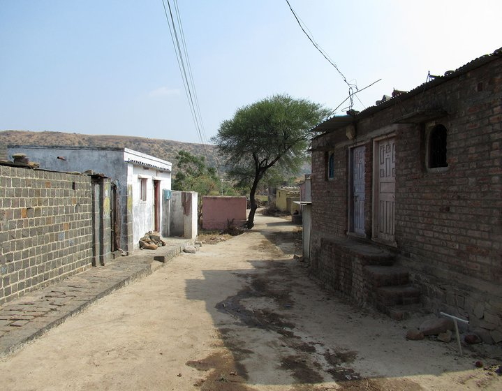 A deserted street in Hatkarwadi village in Beed district of Maharashtra