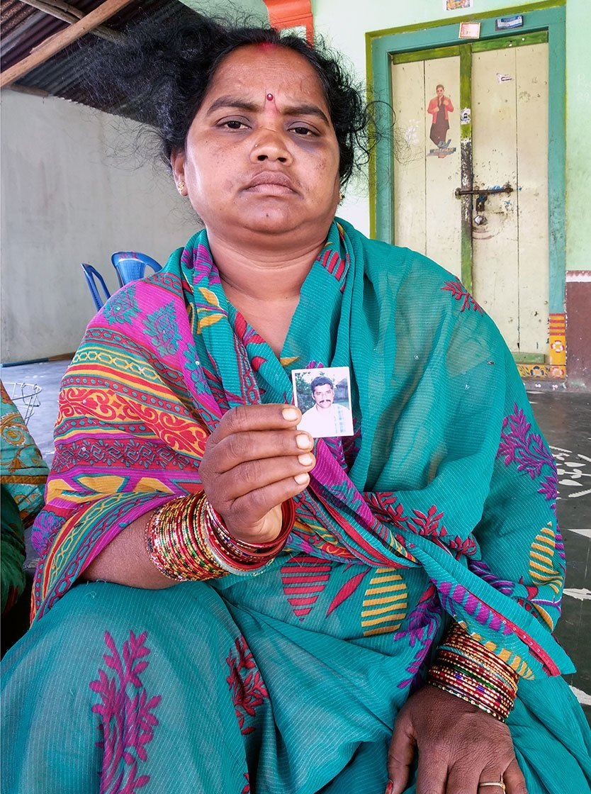 Pandi Seetha, 35, widow of Pandi Venkaiah, who committed suicide on 24th February, 2018.