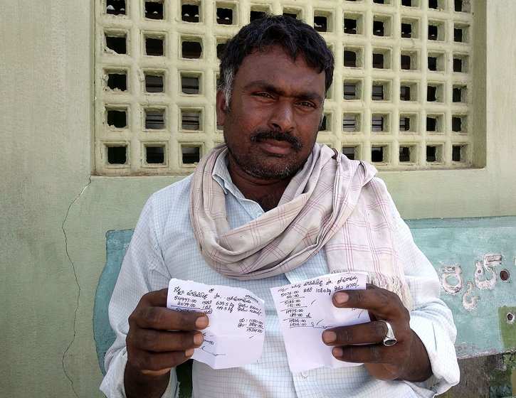 Gottam Hanimi Reddy showing the bills he got from the middlemen. The bills show the quantity sold and the price offered apart from other details like commission, debts and dues