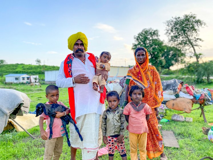 In June, Prakash's family – including his daughter Manisha, and grandchildren (left) – and others from this group of Dhangars had halted in Maharashtra's Vada taluka