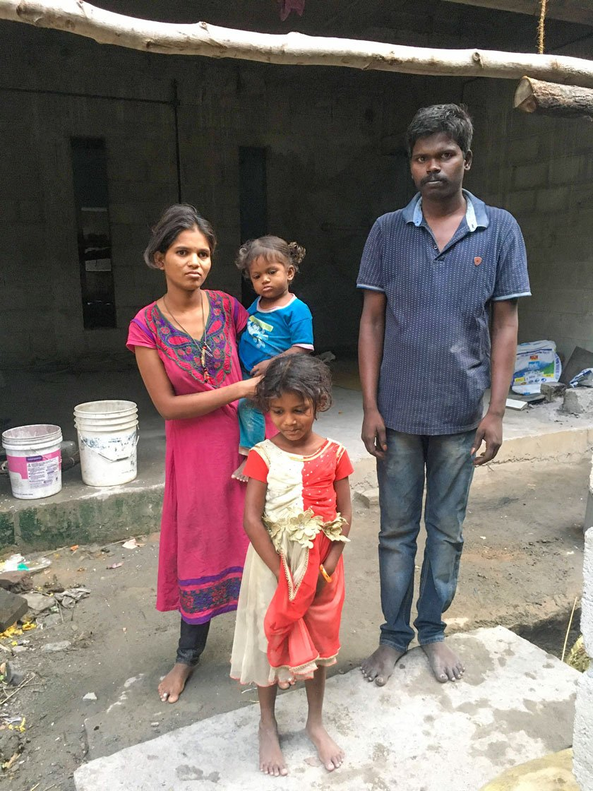 Amoda, Rajesh and their kids Rakshit and Rakshita have stayed in a small shed on the construction site during the lockdown