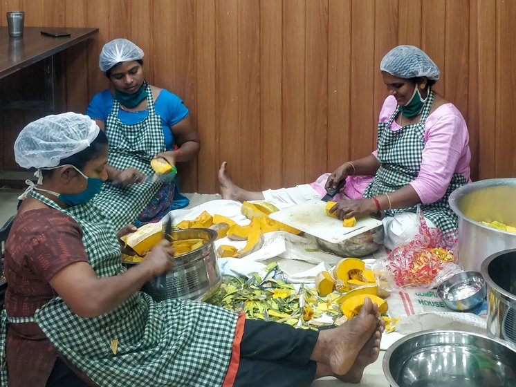 Kudumbashree members in the Janakeeya Hotel near Thiruvananthapuram's M.G. Road cook and pack about 500 takeaway meals every day