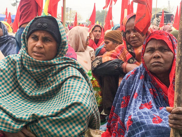 "Hardeep Kaur (left), 42, is a Dalit labourer from Bhuttiwala village of Gidderbaha tehsil in Punjab's Muktsar district. She reached the Tikri border on January 7 with other union members. ""I started labouring in the fields when I was a child. Then the machines came and now I barely get work on farms,"" she says ""I have a job card [for MGNREGA], but get that work only for 10-15 days, and our payments are delayed for months."" Shanti Devi (sitting, right) a 50-year-old Dalit agricultural labourer from Lakhewali village of Muktsar district, says, ""We can eat only when we have work. Where will go once these farm laws are implemented? Right: Shanti Devi's hands"
