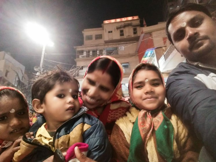 Left: Arun and Sabita Paswan and their children in Varanasi before the lockdown. Right: Kameshwar Yadav with his son and nephew in Ghatera