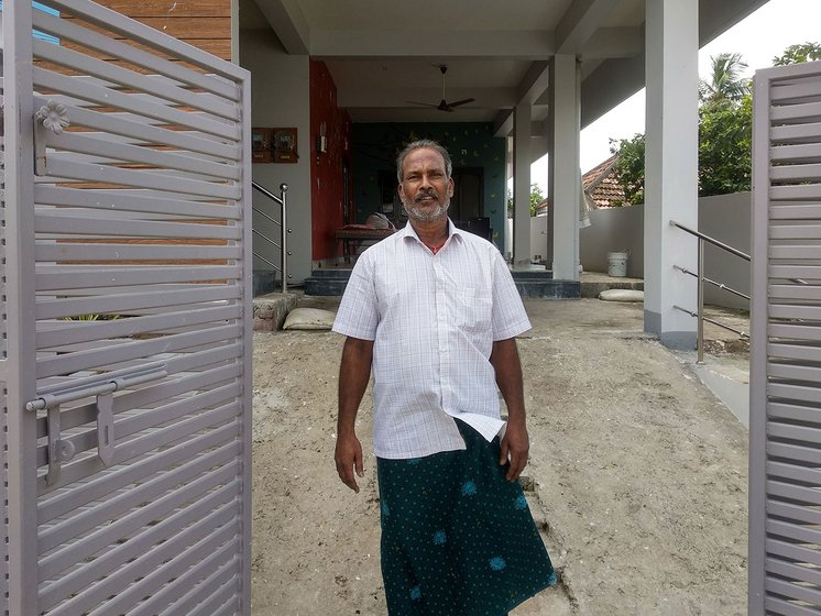 Ginjupalli Sankara Rao in front of his house.