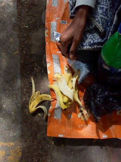Left: Pills, ointments, gauze and bandage that belong to the cancer patients living on the footpath near the Tata Memorial Hospital. Right: Peels of bananas eaten by Surendra Ram, an oral cancer patient. Surendra survived on the fruit during the Janata Curfew on March 22