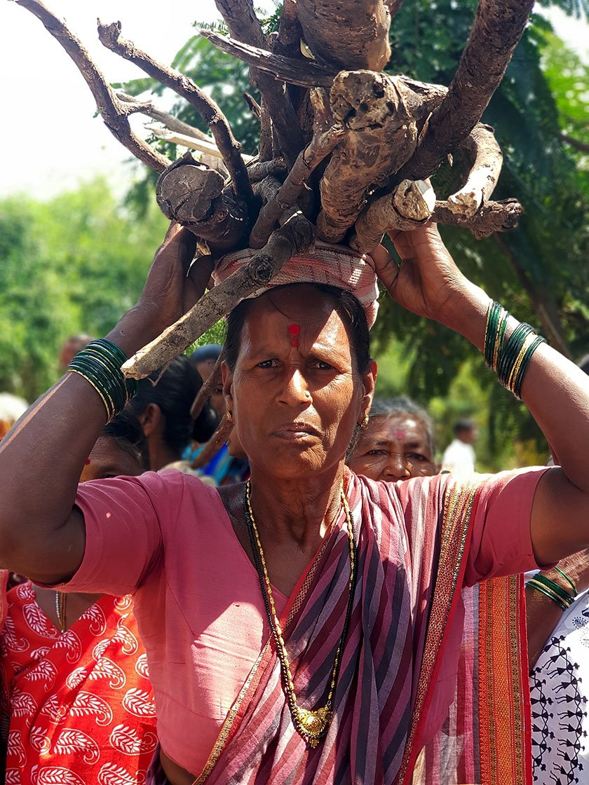 Manubai Gawari with firewood on her head