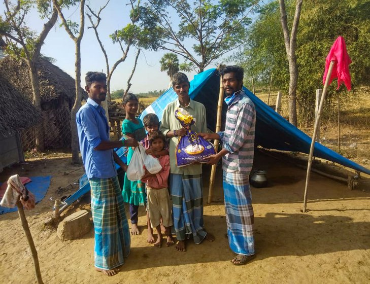 Vanavil school's volunteers are delivering groceries to 1,228 families from extremely marginalised groups in Arasur hamlet and villages of Nagapattinam block