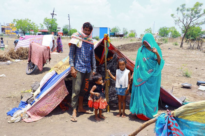 Left: Akash Yadav was stuck in Renapur with his wife Amithi, and daughters Damini and and Yamini. Right: Akash at work; his father Ashok (in pink shirt) looks on