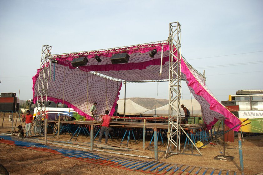 The tamasha stage being erected on 4 May 2018 in Karavadi village, Satara district, in western Maharashtra